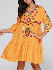 Boho DressEmbroidered Smock Dress