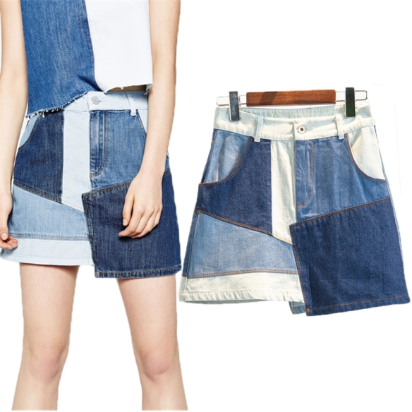 2016-Summer-Patchwork-Denim-Skirt-Women-High-Waist-A-line-Denim-Skirt-Blue-Contrast-Color-Vintage