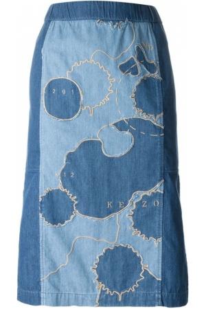 Faldas-vaqueras-de-mujer-Kenzo-Patchwork-Denim-Skirt