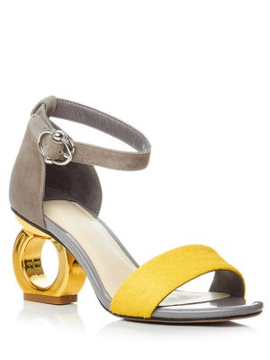 Color Block Ankle Strap Strange Heel Sandals
